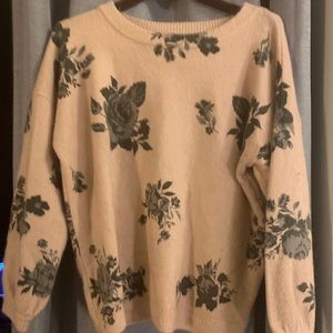 Floral pale pink sweater. Medium weight.